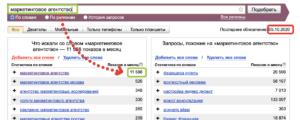 Индексация сайта: вордстат